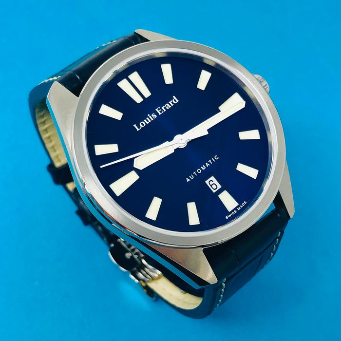 Louis Erard - Automatic Watch Sportive Collection Blue Dial Leather Strap Swiss Made  - 69108AA05.BDC155 - Homme - Brand New