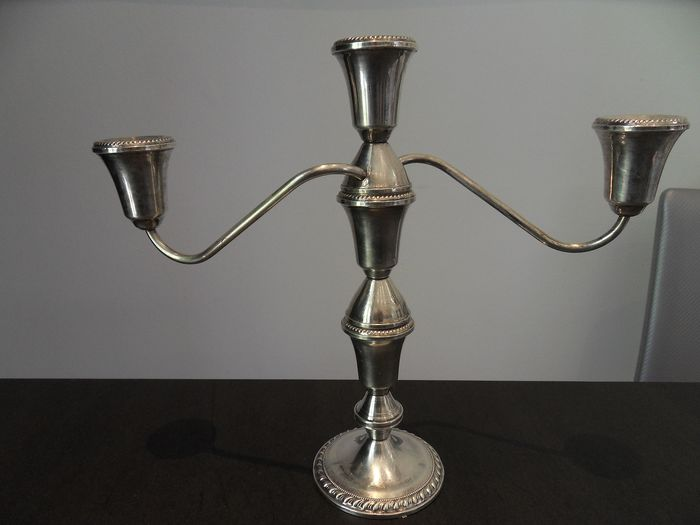 Sumptuous big candelabrum 3 branches (lot 2) - .925 silver - Duchin New York - U.S. - Early 20th century