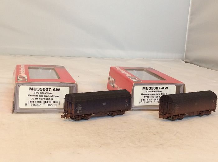 Modellbahn Union N - MU35007-AW - Freight carriage - 2x weathered covered wagons of the VTG - (4872) - DB