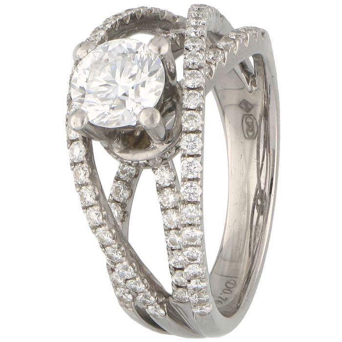 18 kt. White gold - Ring - 1.00 ct Diamond - Diamonds