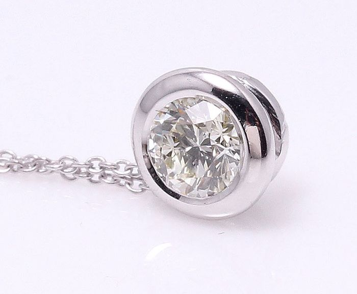 14 quilates Oro blanco - Colgante - 0.30 ct Diamante