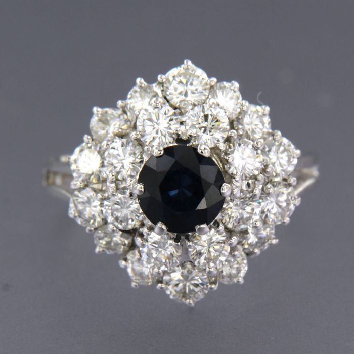 14 kt. White gold - Ring - 2.00 ct Diamond - Sapphire