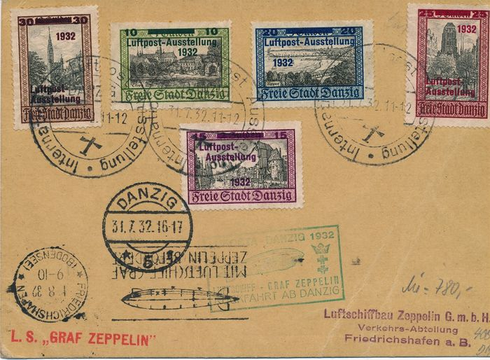 Danzig 1932 - Zeppelin post, Luposta Gdansk, return trip - Michel Nr. 231 - 235