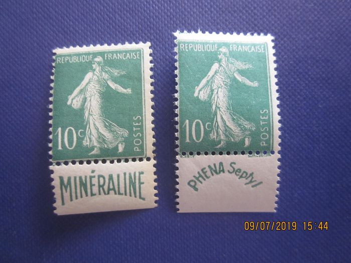 Frankreich 1924 - Semeuse with full background and mineraline pub and phena - Yvert 188/188A