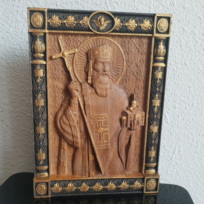 "Icon, Orthodox ""Saint Vladimir"" wood Oak hand-carved  - Wood- Oak"