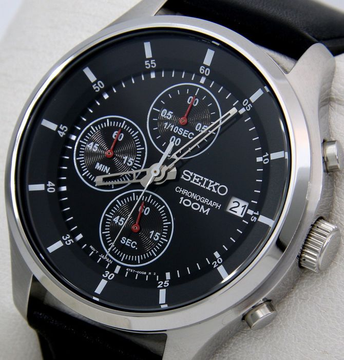 "Seiko - Chronograph ""Black Dial"" 100M Leather - - ""NO RESERVE PRICE"" - - Men - 2011-present"