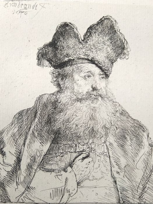 After Rembrandt Harmensz van Rijn (1606-1669) printed by M. Charreyre (1883-1884)  - Portrait of man with beard and bonnet