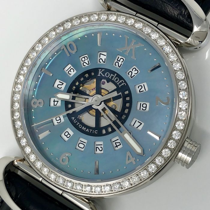"Korloff - Diamonds 1,40 Carats Automatic Blue Mother of Pearl Dial Voyager Collection Swiss Made  - VABSD ""NO RESERVE PRICE"" - Men - Brand New"