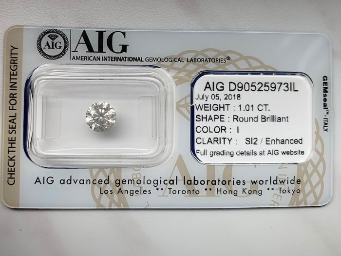 1 pcs Diamant - 1.01 ct - Briljant - I - SI2
