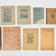 Volksboeken. Bibliografie & facsimiles - Lot met 12 titels in 9 delen, english & dutch - 1810/1950
