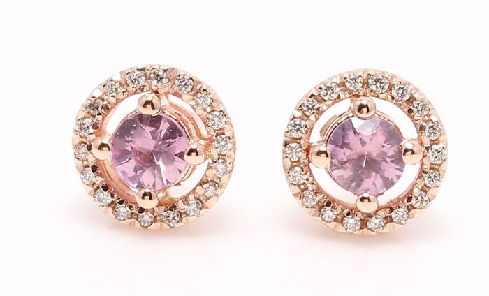 14 carats Or rose - Boucles d'oreilles - 0.50 ct Saphir - Diamant