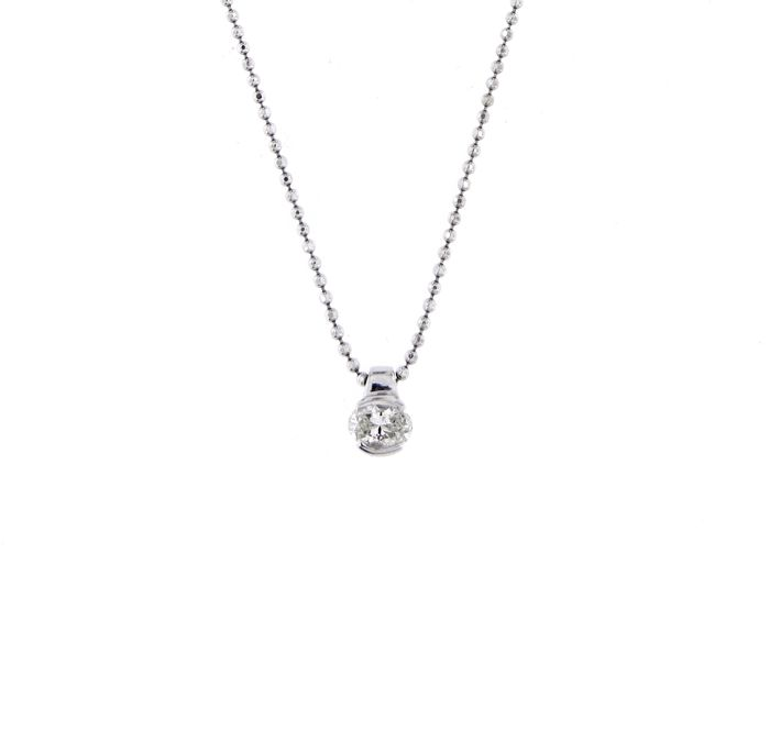 Balestra - 18 kt. White gold - Necklace with pendant - 0.38 ct Diamond