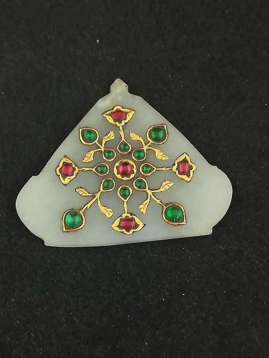 Pendant (1) - Gemstones, Gold 22 kt, Jade - Rajasthan, India
