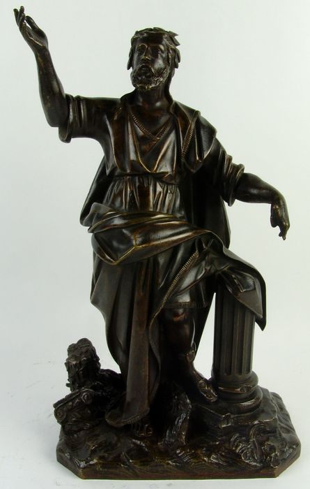 Sculpture, Standing Classic male figure, probably a philosopher - Bronze - Second half 19th century