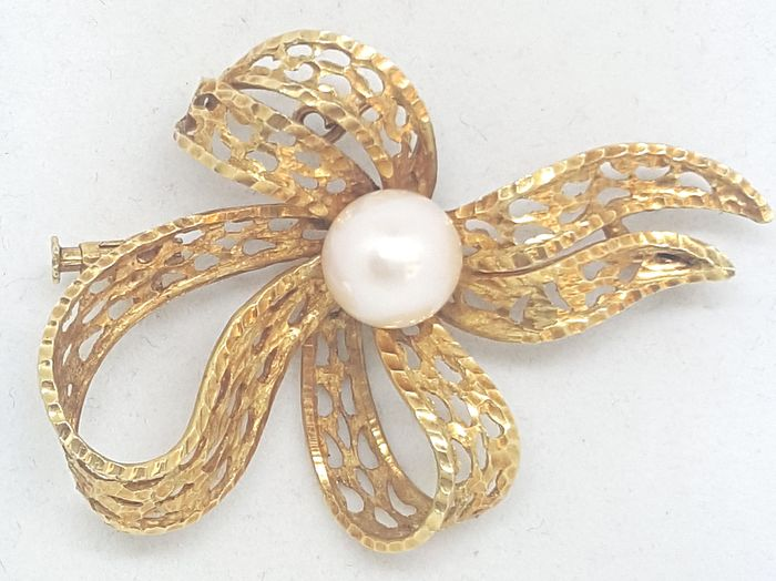 18 kt. Yellow gold - Brooch Pearl