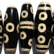 Unusual set of 8-eyed dzis - different patterns - Agate - Tibet - End 20th