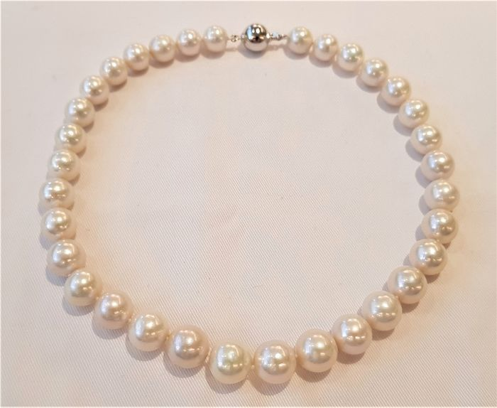 NO RESERVE PRICE - 925 Silver - 11x14mm Cultured Pearls - Necklace