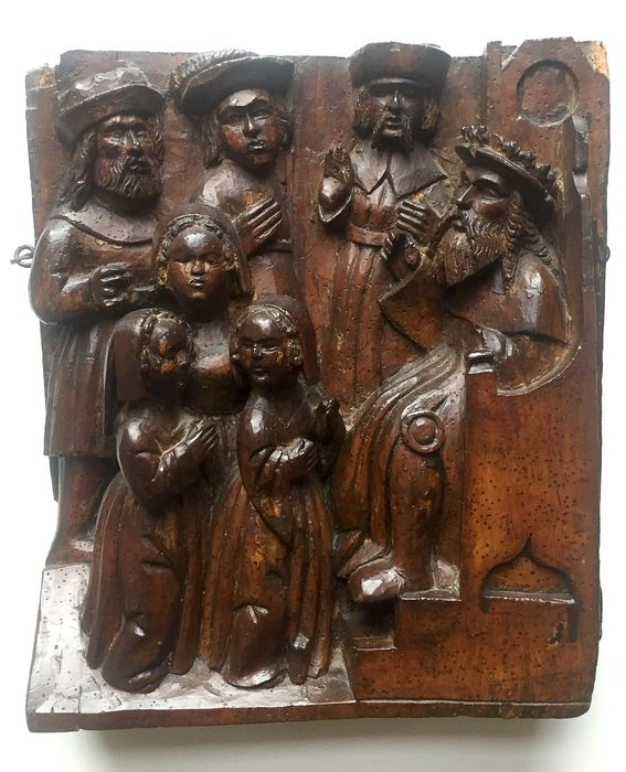 Sculpture, retable carving depicting the Presentation of Mary at the Temple - Gothic - Walnut - circa 1500