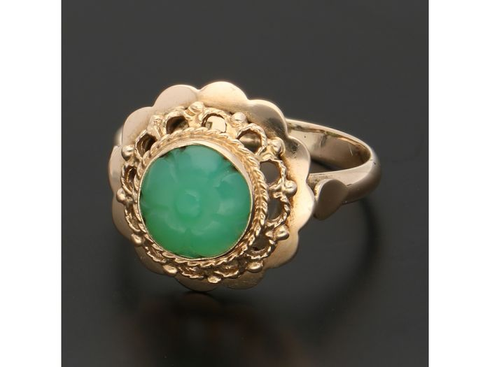 14 carats Or - Bague jade
