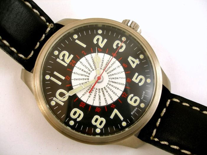 "Zeno-Watch Basel - OS Pilot World Timer ""NO RESERVE PRICE"" - 8563 - Men - 2000-2010"