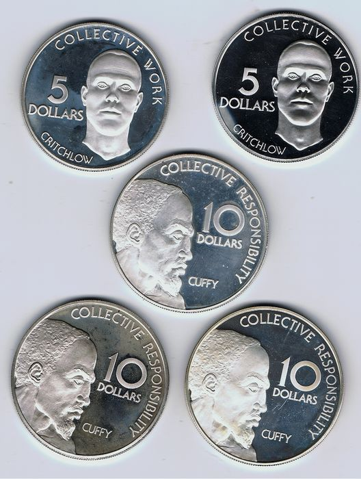 Guyana - 5 Dollars 1976 and 1977 + 10 Dollars 1976, 1977 and 1979 (total 5 coins)  - Zilver