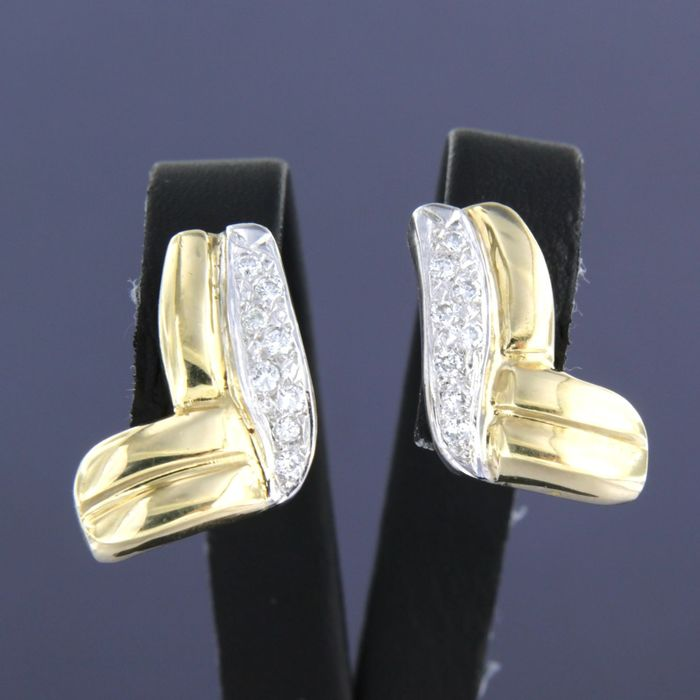 18 quilates Oro amarillo, Oro blanco - Pendientes - 0.30 ct Diamante