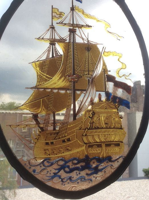 """Hand-stained window hanger """"Ship"""" - Stained glass"""