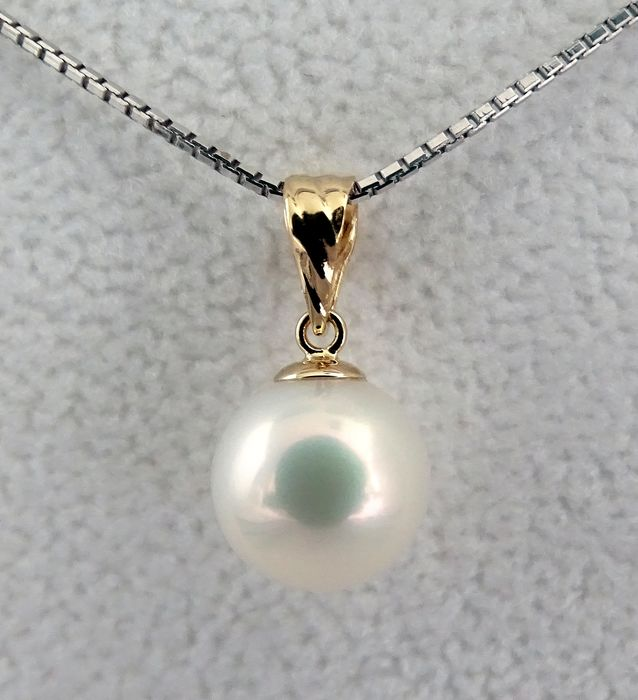 HS Jewellery South sea pearl, Premium True AAA 9.6mm - Pendant, 18 kt. Yellow Gold (NO RESERVE)