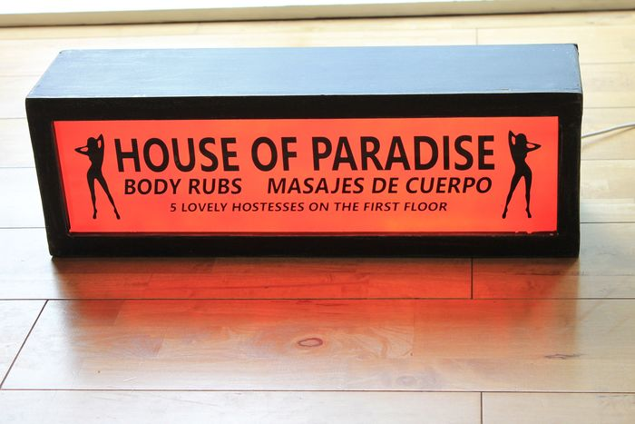 "Illuminated Sex Shop Light Up Sign ""House Of Paradise"" Light Up Display Art Mid Century Interior (1) - Mid-Century Modern - Wood"