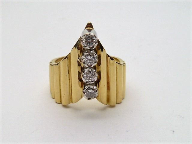 18 kt. White gold, Yellow gold - Ring - Diamonds
