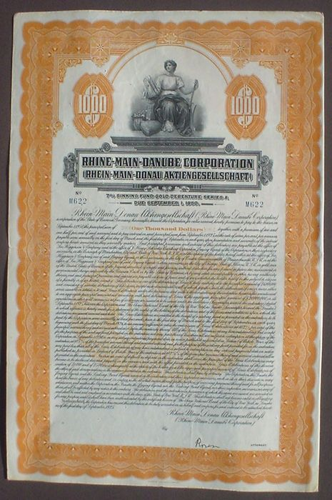 7% Rhine Main Danube 1000 $ Gold Bond 1925 uncancelled + coupons - Documento - Papel