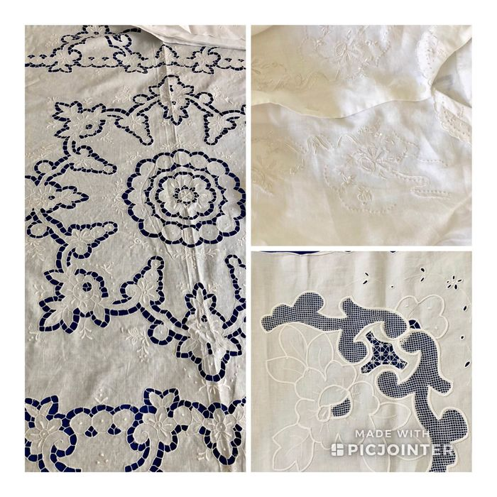 Embroidered night set - bedspread, sheet, pillowcase and nightgown - High quality manufacture (4) - Linen and Cotton