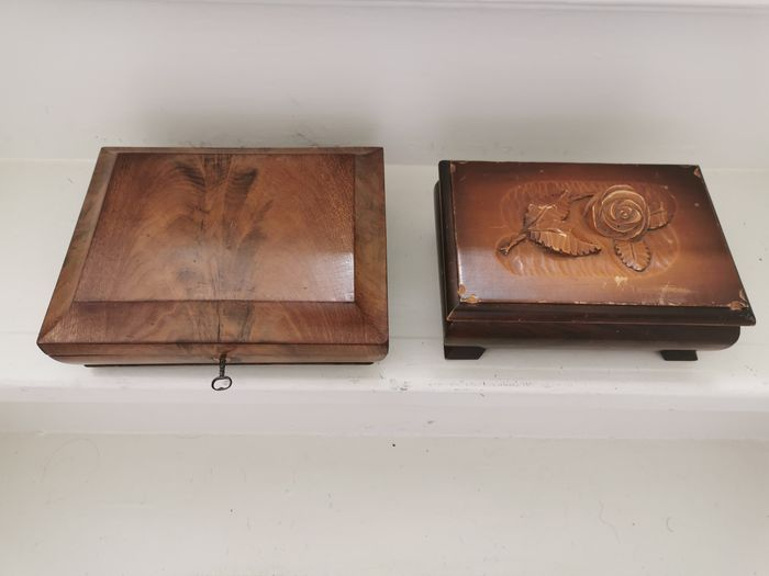 Two detailed wooden boxes including - Wood