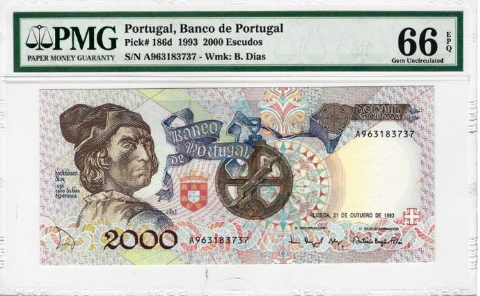 Portugal - 2.000 Escudos - Banco de Portugal - 1993 - B. Dias - PMG 66 Gem Uncirculated. - Paper