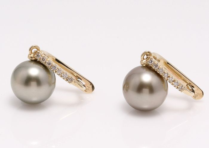 NO RESERVE PRICE - 14 kt. Yellow Gold - 9x10mm Tahiti Pearls - Earrings - 0.11 ct