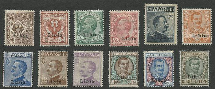 "Libye italienne 1912/1915 - Stamps of Italy from 1901-11 overprinted ""Libia"" - Sassone NN. 1/12 - S1"