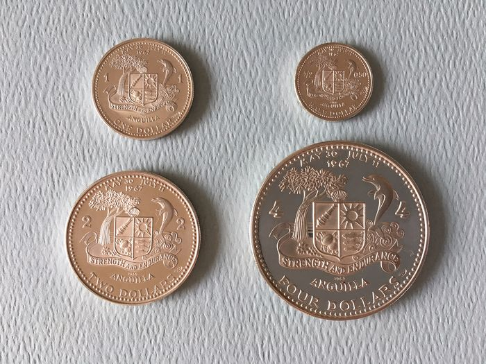 Anguilla - ½ + 1 + 2 + 4 Dollars 1969 (4 different)  - Silver