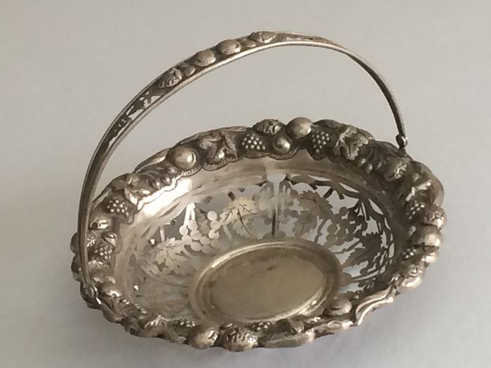 Silver winged basket 300 grams 24cm - Silver - Portugal - mid 20th century