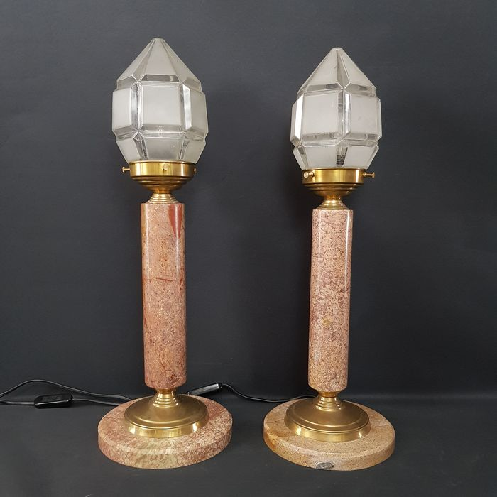 Two lights - Brass, Glass, Marble