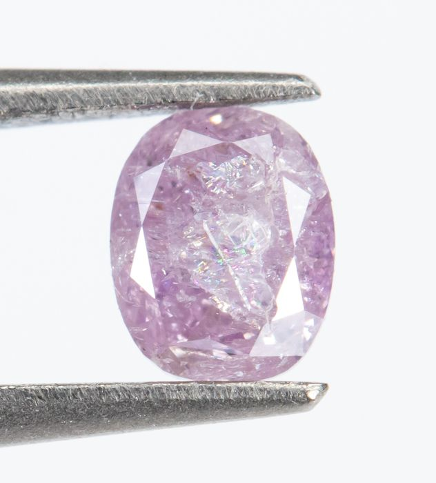 Diamant - 0.16 ct - Natural Fancy INTENSE Purple Rose - I3  *NO RESERVE*