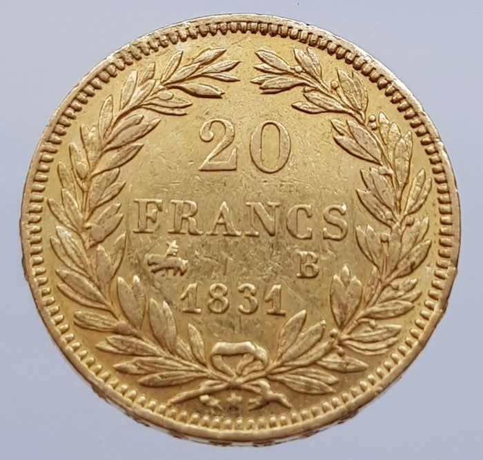France - 20 Francs 1831-B (Rouen) Louis Philippe I - Gold