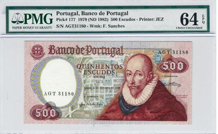 Portugal - 500 Escudos Ouro - Banco de Portugal - 1979 - Francisco Sanches - PMG 64 Choice Uncirculated. - Paper