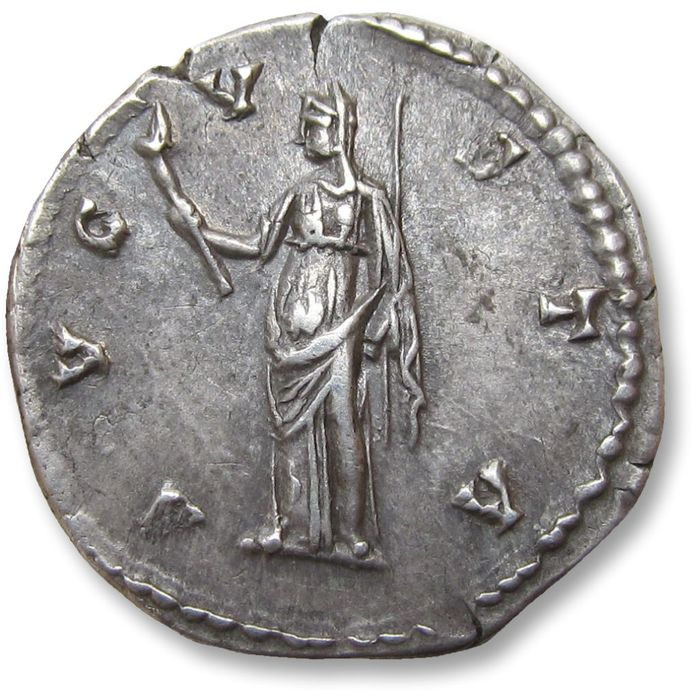 Roman Empire - AR Denarius, Faustina Senior - sharply struck coin with great toning - Rome mint after 141 A.D. - AVGVSTA, Ceres standing left - - Silver