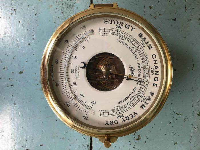 Ship's barometer, Thermometer - Brass - Second half 20th century