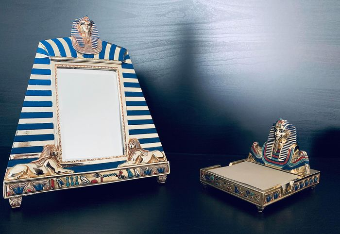 Franklin Mint - The Treasures of Tutankhamun Mirror/Picture Frame & Note Pad - Limited Edition