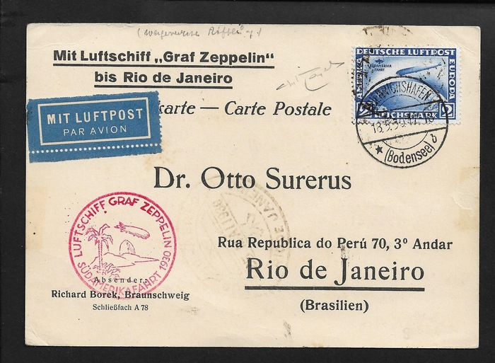 """Germany - Local postal areas - Airmail, 2 m. ultramarine """"Sudamerika Fahrt"""" isolated on postcard with ZEPPELIN special flight. - Unificato N° 38"""