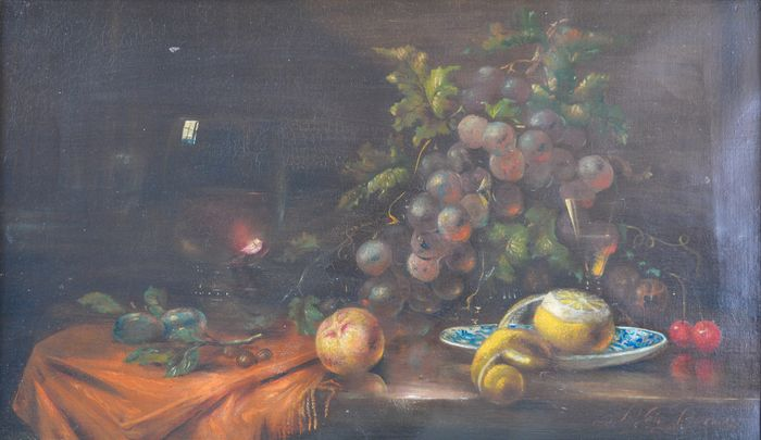 J Van Doren. (19th/20th century) - A still life of fruit