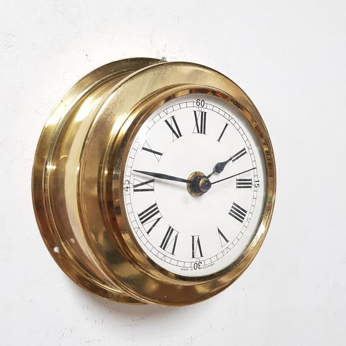 Ship's Clock - Jewel Quartz Movement - Brass, Glass