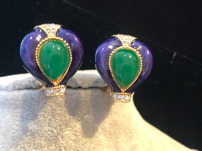 Gold-plated - D'Orlan Rare enamelled and jewel Cabochon set earrings