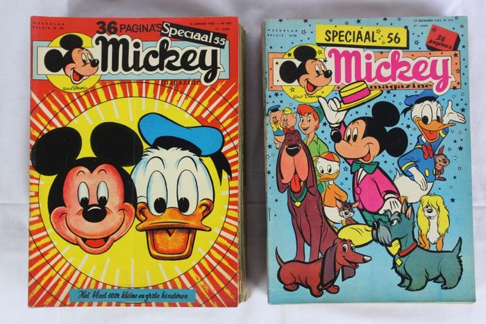 Mickey Magazine - 1955 compleet + 1956 (33 nrs) - 85 magazines - nrs 222 t/m 306 - Agrafé - EO - (1955/1956)